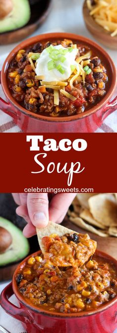 Taco Soup - All the flavors of a taco in an easy and flavorful one-pot soup. Top with your favorite taco toppings! Taco Soup - All the flavors of a taco in an easy and flavorful one-pot soup. Top with your favorite taco toppings! Chili Recipes, Mexican Food Recipes, Crockpot Recipes, Soup Recipes, Great Recipes, Dinner Recipes, Cooking Recipes, Favorite Recipes, Healthy Recipes