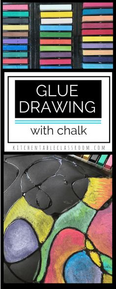 art ideas Glue drawing adds a third dimension to the art of drawing. This project can be made easy or intense and can be easily adapted to any age or skill level. Easy Art Projects, Projects For Kids, Drawing Projects, Classe D'art, Ecole Art, Chalk Pastels, Dry Pastels, Preschool Art, Art Classroom