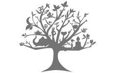 these are the symbols I want in the tree - elephant, buddha, hearts, peace sign, lotus flower, yoga mudra, om symbol, moon, bird,