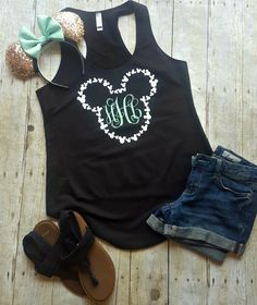 Thank you for stopping by my shop! I am excited to have you here! Disney Addicts this top is for you!! My Mickey with Monogram  is perfect for your Disney vacation! **This listing is for the tank top only***  Details: Black with white mickey and mint monogram (pictured) French terry lightweight jersey 50% ring-spun combed cotton/50% polyester  ****Racerback Tank Top Details**** * RUNS SMALL - consider ordering a size up * 50% cotton, 50% polyester * 4.9 oz - 30 singles for extreme softness…