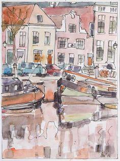 Zwolle - Stadsgezicht in aquarel - Saskia Wevers