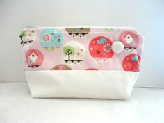 Cosmetic Bag  Makeup Bag  Birds And Birdcage by laboutiquehonig, $18.50
