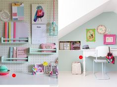 nr. 1: pegboard and book shelves (spice racks) are from IKEA. petitandsmall | nr. 2: Gevonden op sfgirlbybay.com