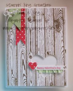 Stampin' Up! hardwood stamp, heart punch, ruffle trim stretch ribbon; stampin king: Valentine Twist