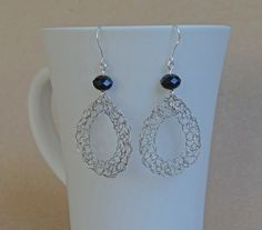 Valentine's Day Gift Silver crochet earrings with black by ByDrora, $25.00