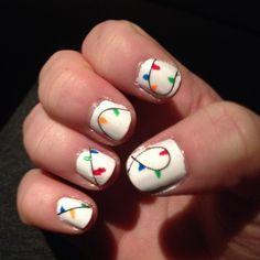 Christmas light nails. Migi nail art pens make for easy designs