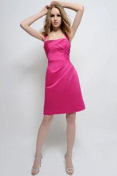Fuchsia #Satin Short Draped #Homecoming #Dress with Criss-cross Back #Straps