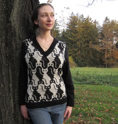 PDF Cat V Neck Knitting Pattern Instant Download