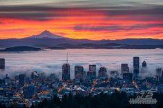 View from the west hills over Portland out to Mt. hood at sunrise...