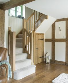 A few weeks ago I was lucky enough to spend the day styling some pics of a house Border Oak built for some good pals of mine. Oak Stairs, House Stairs, Barn Conversion Interiors, Border Oak, Oak Frame House, Cabin Doors, Under Stairs Cupboard, Edwardian House, Cottage Interiors
