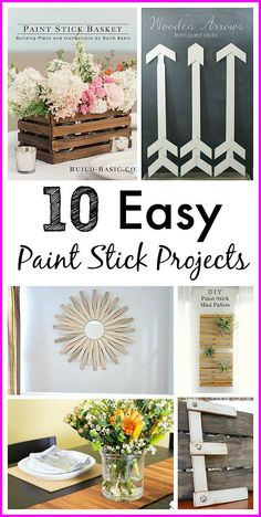 Lots of cute craft ideas! Easy Paint Stick Projects - Paint sticks are an amazingly versatile (and free) DIY crafting resource! Check out these 10 paint stir stick projects for some cute thrifty craft ideas! | DIY project, paint stir stick project, home decor