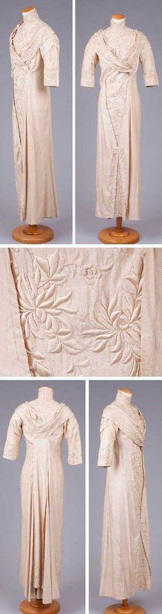 Dress, ca. 1910-19. Off-white silk Shantung, heavy satin embroidery. Goldstein Museum of Design, Univ. of Minnesota