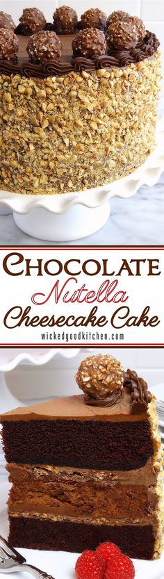 Chocolate Nutella Cheesecake Cake ~ Moist Chocolate Hazelnut Velvet Layer Cake with creamy and flavorful Nutella Cheesecake, crushed Ferrero Rocher® Hazelnut Chocolates for added crunch and sublime Chocolate-Nutella Cream Cheese Buttercream. Irresistible! Everyone will LOVE this cake!