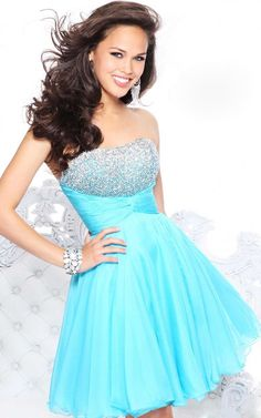 Strapless Rhinestone Embellished Ruched Empire Aqua Homecoming Dress