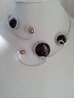 """""""Parure de mariage"""", """"Collier ouvert """", """"Collier en fil d'aluminium"""" : Parure par bijouxlibellule"""