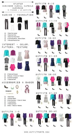 business casual capsule wardrobe checklist (Outfit Posts) This checklist is a good template for a basic starter work wardrobe.This checklist is a good template for a basic starter work wardrobe. Trajes Business Casual, Business Outfits, Business Attire, Business Formal, Smart Business Casual Women, Business Fashion, Business Tips, Business Casual Outfits For Work, Business Clothes