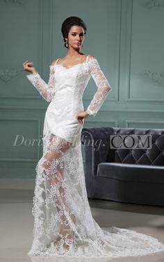 US$91.55-Long Sleeve V Neck Sheath Lace Wedding Dress With Slit and Sleeves. http://www.doriswedding.com/long-sleeve-v-neck-sheath-dress-with-front-split-and-lace-applique-pGC_705041.html. Order customized wedding dresses at cheap price here, you can have your favorite 2016 style for your own wedding dress. Come in and get your style. #DorisWedding.com.