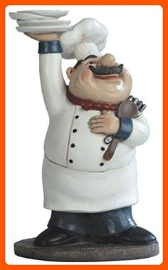 """George S. Chen Imports SS-G-65003 Chef Holding Plates Figurine, 10.75"""" - Fun stuff and gift ideas (*Amazon Partner-Link)"""