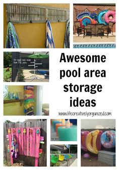 Looking for pool storage ideas? It's hot! If you have a pool, I bet it's getting a lot of use now. Here are awesome pool storage ideas to keep it organized! #poolstorage #outdoorstorage #outdoordecor #summerfun