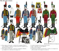 Polish hussars and guides Empire, Army Uniform, Military Uniforms, Poland History, French Army, Napoleonic Wars, Toy Soldiers, Military History, Troops