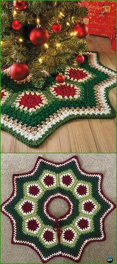 Crochet Granny Ripple Tree Skirt Free Pattern - Crochet Christmas Tree Skirt Free Patterns by Carolyn Hansen Crochet Tree Skirt, Bag Crochet, Crochet Home, Crochet Granny, Crochet Crafts, Yarn Crafts, Crochet Projects, Free Crochet, Crotchet