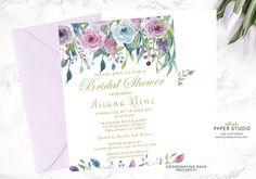Gold Blue Purple Bridal Shower Invitation Floral Bridal