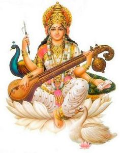 sarasvati: hindu goddess of eloquence and intelligence, sarasvati extends a refreshing drink from her well of knowledge to complete the month with aptitude. In hindu tradition, Sarasvati invented all sciences, arts, and writing. Saraswati Vandana, Saraswati Mata, Saraswati Goddess, Krishna, Hanuman, Saraswathi Pooja, Kundalini Mantra, Kundalini Yoga, Navratri Puja