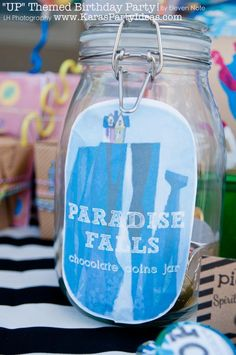 Paradise Falls Jar filled with chocolate coins
