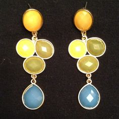 ⭐NWT gemstone drop earrings⭐ Feminine and pretty! Brand new gemstone drop earrings with blue, green and yellow stones.NO TRADES Jewelry Earrings