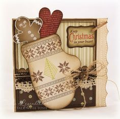 Darling Christmas Card...with paper mitten filled with gingerbread man & heart.