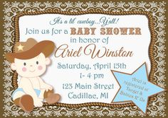 Printable Cowboy Custom Baby Shower Invitation - DIY Personalized Party Printable - Brown, Green or Red on Etsy, $15.00