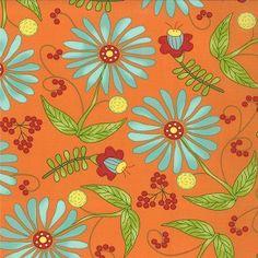 Bobbins & Bits Floral Tangy Orange