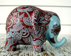 Ceramic Elephant -- Embossed Copper Design on Sky Blue Glazed Elephant Bank.