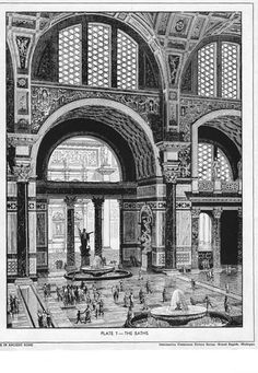 I like this because of the use of lines in this picture. You can see how much work was put into each one of these bath houses Ancient Roman Architecture - Baths of Carcalla Architecture Antique, Plans Architecture, Ancient Greek Architecture, Architecture Drawings, Classical Architecture, Ancient Rome, Ancient Art, Roman History, Roman Art