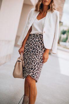Fall Workwear Outfit Idea - Leopard print skirt with white tank and white blazer.