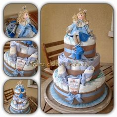 Atelier della Creatività: TORTE DI PANNOLINI Baby Shower Parties, Baby Shower Gifts, Baby Gifts, Mom And Baby, Baby Boy, Dipper Cakes, Diaper Cake Centerpieces, Nappy Cakes, Great Gifts For Mom