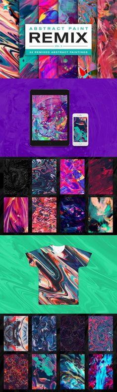 Abstract Paint Remix Vol. 3 - 32 custom pieces of abstract art created by remixing several different abstra. Stock Art, Abstract Art, Graphics, Create, Painting, Graphic Design, Painting Art, Paintings, Printmaking