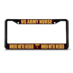 PROUD US ARMY WIFE USA SOLDIER ARMED FORCES UNITED Black License Plate Frame NEW