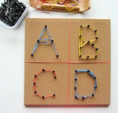 Corkboard + pushpins + rubberbands = fun way to work on fine motor skills, visual spatial skills, and letter identification.