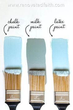 MIND BLOWN! Milk Paint vs Chalk Paint vs Latex: What's the Best Way to Paint Furniture? Check out how these top three types of paints were tested head to head as the best paint for redoing furniture. Your time is valuable so pick the right paint for wood or laminate! She also shares whether to use milk paint or chalk paint for kitchen cabinets and the best paint brush for a smooth surface with less brush strokes. Annie Sloan vs Miss Mustard Seed vs Sherwin Williams Chalk Paint Projects, Chalk Paint Furniture, Furniture Projects, Furniture Makeover, Redoing Furniture, Furniture Legs, Garden Furniture, Furniture Design, Annie Sloan Chalk Paint Table