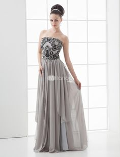 Grace Gray Chiffon Strapless Paillette Decoration Prom Dress. This gray prom dress adorned with paillette on the bodice creates the romantic feeling. Strapless and sweep bottom in waterfall pattern shows your grace statues. Soft chiffon further adds the magic power. Splitting on the dre.. . See More Strapless at http://www.ourgreatshop.com/Strapless-C937.aspx