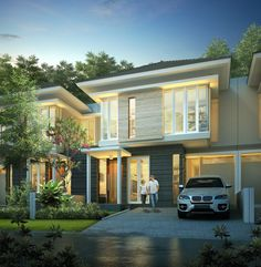 Modern Tropical House, Tropical Houses, Facade House, Minimalist Design, Villas, Exterior Design, Townhouse, My House, Architecture Design