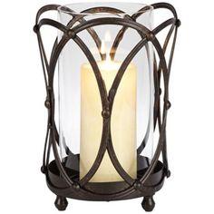 """Bronze Studded 10"""" High Hurricane Pillar Candleholder"""
