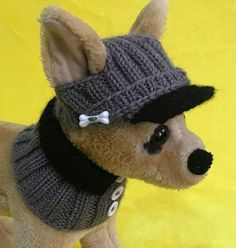 Details about Pet Clothes Apparel Outfit Hand-Knit Visor Hat and Collar Scarf for Small Dog - ols - Bolsos para Perros pequeños Crochet Dog Clothes, Crochet Dog Sweater, Pet Clothes, Dog Clothing, Dog Hats Crochet, Apparel Clothing, Diy Dog Collar, Dog Collar Tags, Carlin