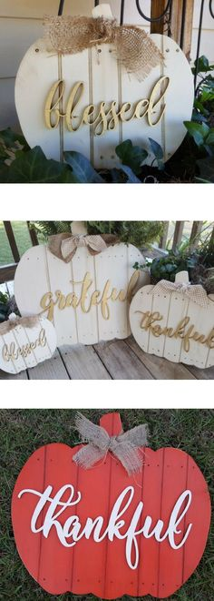 Thankful, Grateful, Blessed Wooden Pumpkin Signs. Rustic Fall Décor. Halloween Décor. Rustic Décor. Fall Outside Décor; Thanksgiving Decorations #affiliatelink