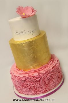 Edible gold wedding cake - cake by Renata