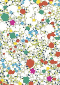 """Meadow Day Pattern fabric from Imogen Heath. a really interesting look with the very simply rendered """"flowers"""""""
