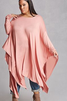 Forever 21+ - An oversized knit top featuring a handkerchief hem, a round neckline, and long dolman sleeves. This is an independent brand and not a Forever 21 branded item.