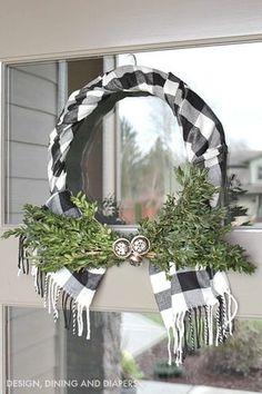 Buffalo Check Wreath using a scarf