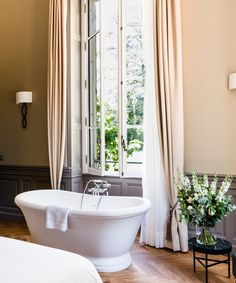 Elegant chateau with pretty landscaped grounds and a celebrated gourmet restaurant; ideal for exploring western Provence Hotel Bathrooms, Ensuite Bathrooms, The Bistro, French Bistro, Boutique Hotel Bedroom, Honeymoon Hotels, Provence France, Beautiful Hotels, Hotel Reviews
